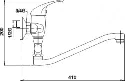 NOVASERVIS - Paneláková baterie bez příslušenství 150 mm Metalia 55 chrom (55032/1,0), fotografie 4/2