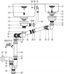 NOVASERVIS - Sifon dřezový na dvojdřez 89mm přepad z dřezu plast (NSP620), fotografie 4/2