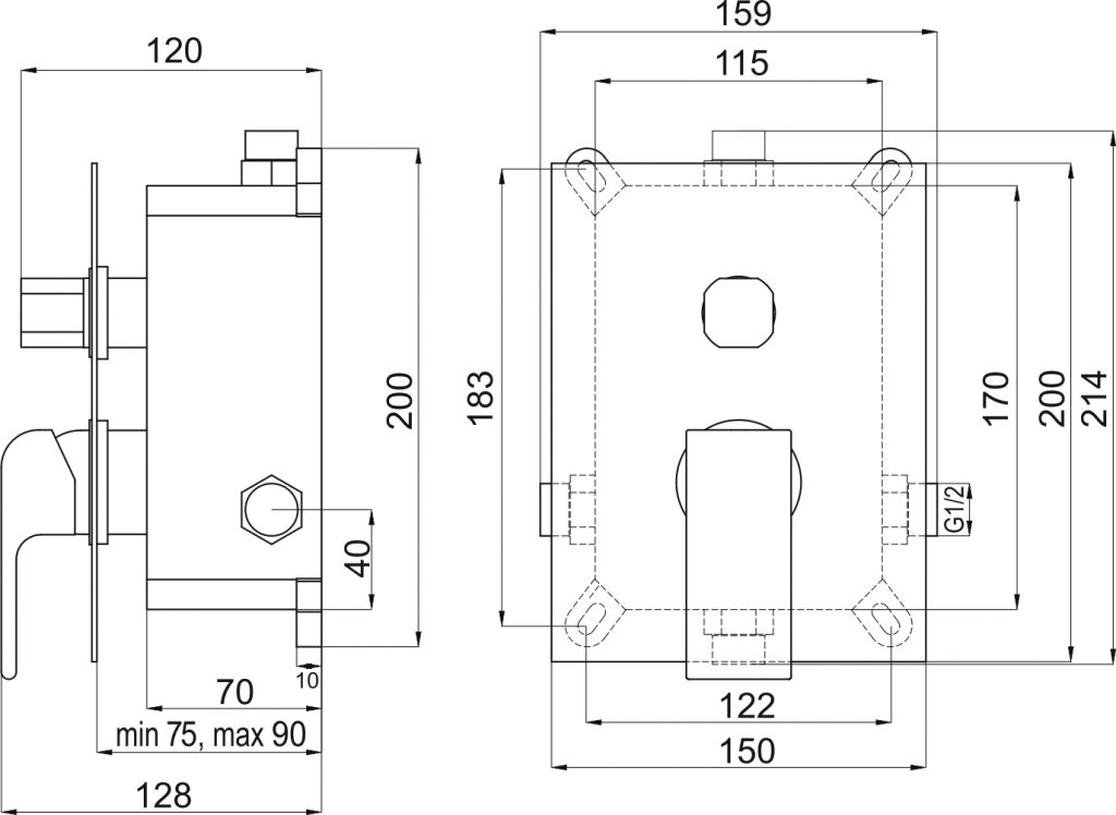 NOVASERVIS - Podomítková baterie s boxem 2 vývody, SHARP (BOX37051R,0)