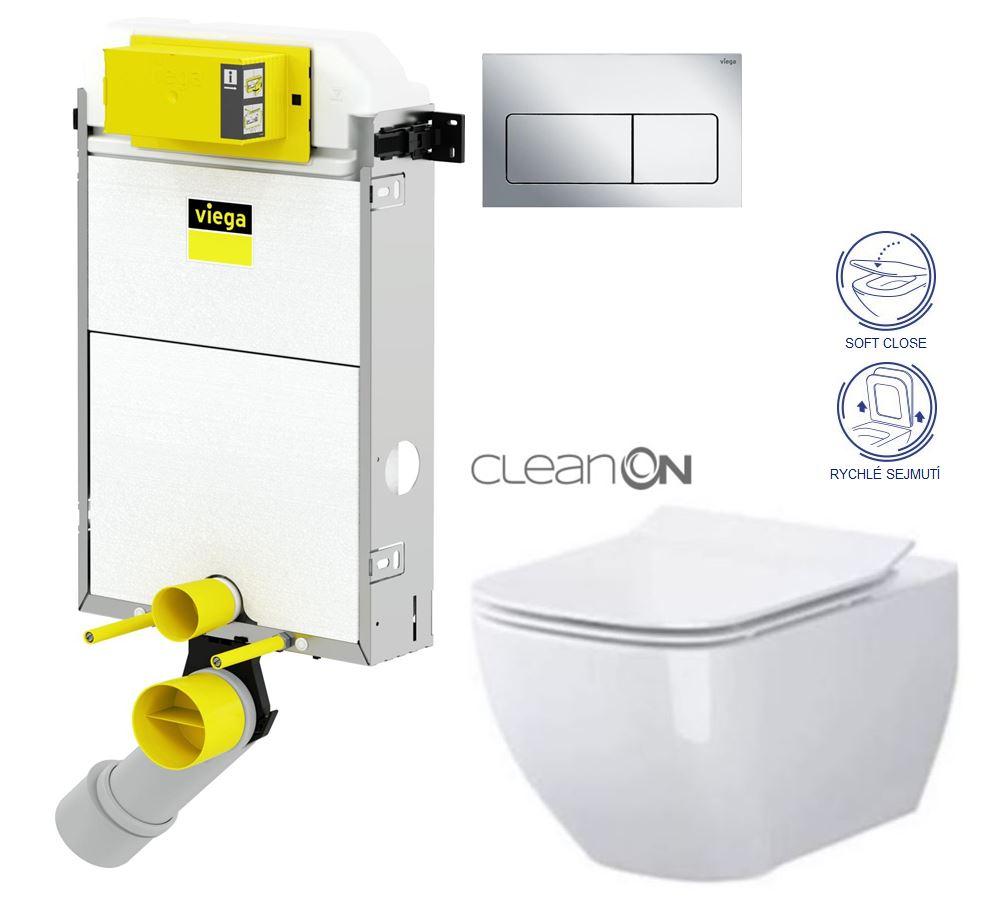 AKCE/SET/VIEGA Presvista modul PURE pro WC včetně tlačítka Life5 CHROM + WC OPOCZNO CLEANON METROPOLITAN + SEDÁTKO V771928 LIFE5CR ME1