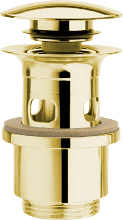 Uzavíratelná kulatá výpust pro umyvadla s přepadem Click Clack, V 40-64mm, zlato (UD39952)