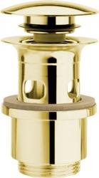 SILFRA - Uzavíratelná kulatá výpust pro umyvadla s přepadem Click Clack, V 40-64mm, zlato (UD39952)