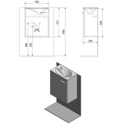 SAPHO - LATUS II umyvadlová skříňka 41,6x50x25cm, dub Mocca+umyvadlo 10052, litý mramor (55592-SET), fotografie 6/3