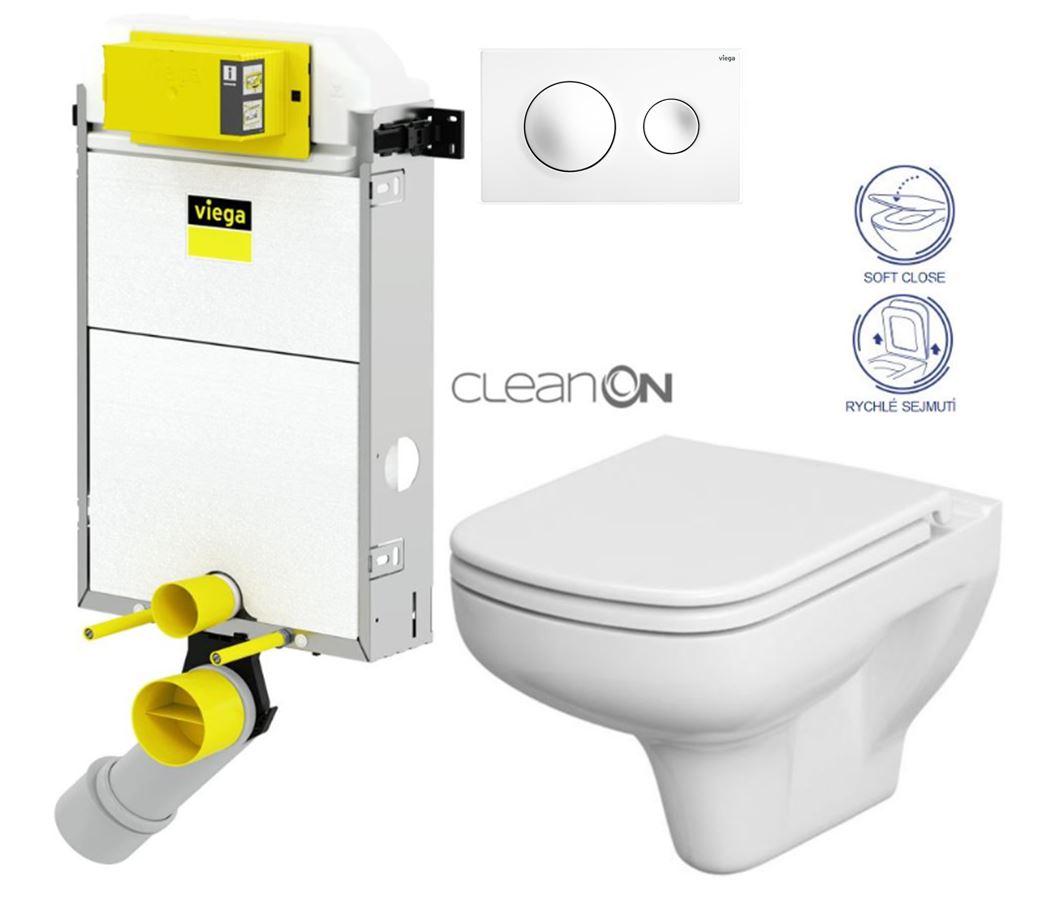 AKCE/SET/VIEGA Presvista modul PURE pro WC včetně tlačítka Style 20 bílá + WC CERSANIT CLEANON COLOUR + SEDÁTKO V771928 STYLE20BI CN1