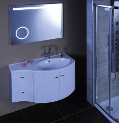 SAPHO - AILA umyvadlová skříňka 110x39cm, bílá/stříbrná, zásuvky vlevo vč.umyvadla ISOBEL 55601 (55621-SET), fotografie 16/8