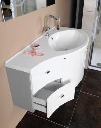 SAPHO - AILA umyvadlová skříňka 110x39cm, bílá/stříbrná, zásuvky vlevo vč.umyvadla ISOBEL 55601 (55621-SET), fotografie 14/8