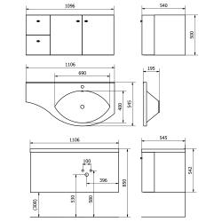 SAPHO - AILA umyvadlová skříňka 110x39cm, bílá/stříbrná, zásuvky vlevo vč.umyvadla ISOBEL 55601 (55621-SET), fotografie 6/8