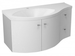 AILA umyvadlová skříňka 110x39cm, bílá/stříbrná, zásuvky vpravo vč.umyvadla ISOBEL 55602 (55622-SET) - SAPHO