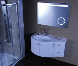 SAPHO - AILA umyvadlová skříňka 110x39cm, bílá/stříbrná, zásuvky vpravo vč.umyvadla ISOBEL 55602 (55622-SET), fotografie 16/8