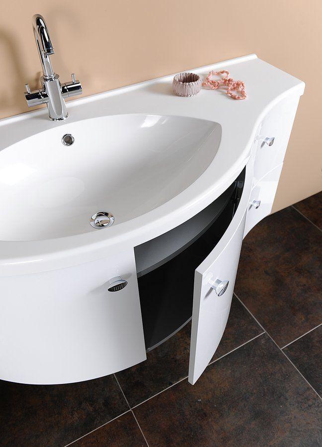 SAPHO - AILA umyvadlová skříňka 110x39cm, bílá/stříbrná, zásuvky vpravo vč.umyvadla ISOBEL 55602 (55622-SET)