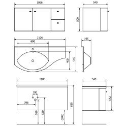 SAPHO - AILA umyvadlová skříňka 110x39cm, bílá/stříbrná, zásuvky vpravo vč.umyvadla ISOBEL 55602 (55622-SET), fotografie 8/8