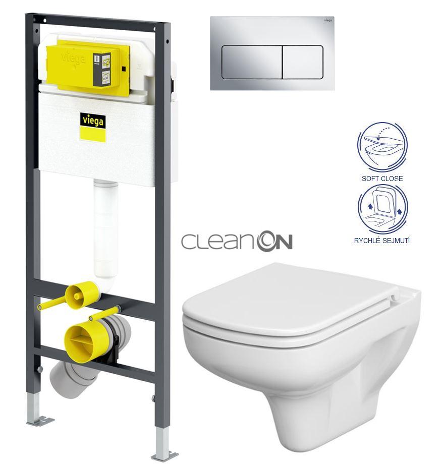 AKCE/SET/VIEGA Presvista modul DRY pro WC včetně tlačítka Life5 CHROM + WC CERSANIT CLEANON COLOUR + SEDÁTKO V771973 LIFE5CR CN1