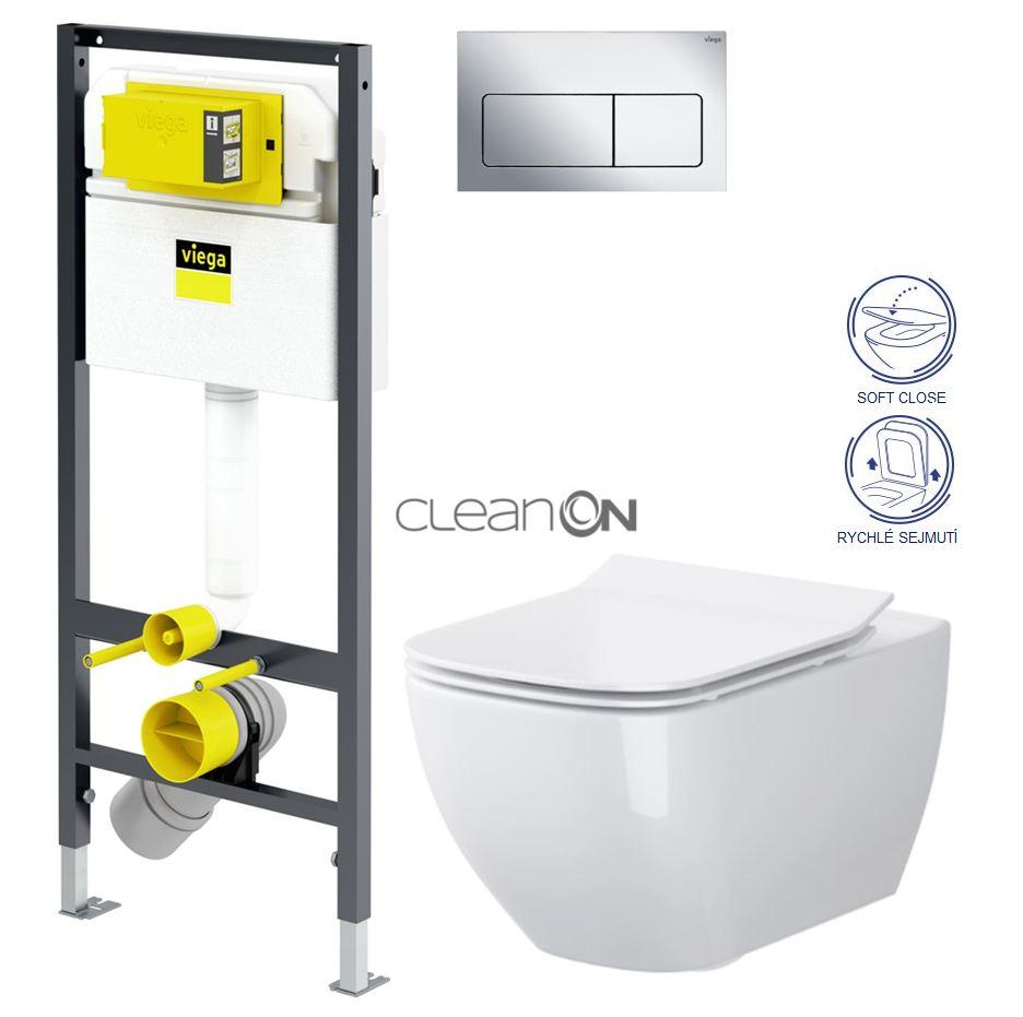 AKCE/SET/VIEGA Presvista modul DRY pro WC včetně tlačítka Life5 CHROM + WC OPOCZNO CLEANON METROPOLITAN + SEDÁTKO V771973 LIFE5CR ME1