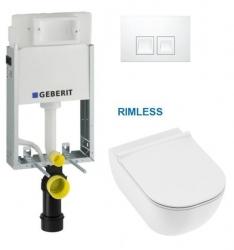 SET KOMBIFIXBasic včetně bílého ovládacího tlačítka DELTA 50 + JIKA Mio WC, Rimless + Mio WC sedátko SLIM (110.100.00.1 50BI IO1) - AKCE/SET/GEBERIT