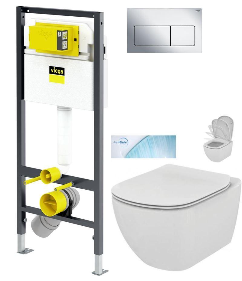 VIEGA Presvista modul DRY pro WC včetně tlačítka Life5 CHROM + WC Ideal Standard Tesi se sedátkem SoftClose, AquaBlade V771973 LIFE5CR TE1
