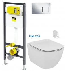 Presvista modul DRY pro WC včetně tlačítka Life5 CHROM +  WC TESI RIMLESS (V771973 LIFE5CR TE2) - AKCE/SET/VIEGA