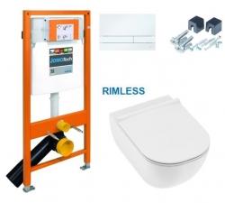 JOMO DUO modul pro závěsné WC s bílou deskou + WC JIKA MIO + SEDÁTKO SLIM (174-91100900-00 IO1)