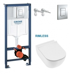 AKCE/SET/GROHE - Rapid SL pro závěsné WC 38528SET s chromovou deskou + JIKA Mio WC, Rimless + Mio WC sedátko SLIM (38772001 IO1)