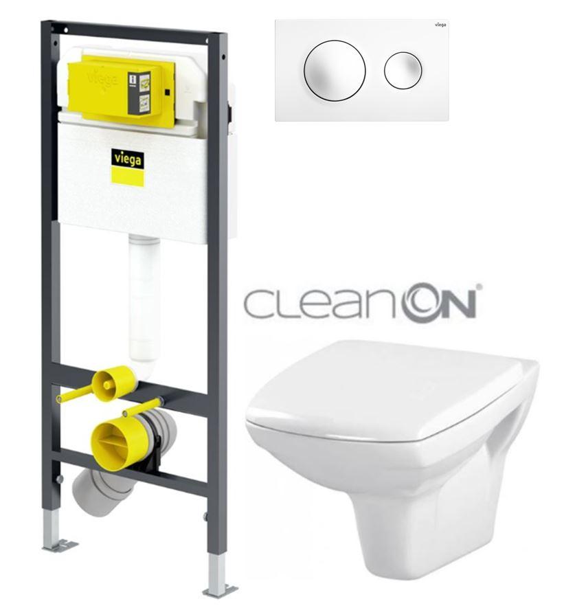 AKCE/SET/VIEGA Presvista modul DRY pro WC včetně tlačítka Style 20 bílá + WC CERSANIT CLEANON CARINA + SEDÁTKO V771973 STYLE20BI CA1