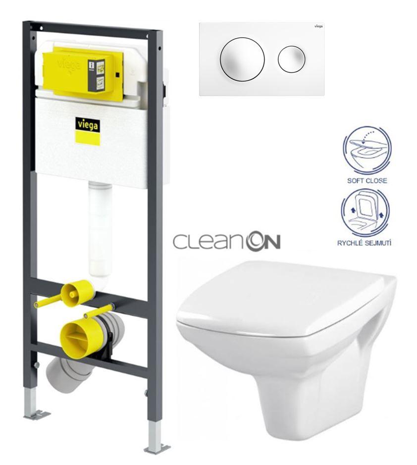 AKCE/SET/VIEGA Presvista modul DRY pro WC včetně tlačítka Style 20 bílá + WC CERSANIT CLEANON CARINA + SEDÁTKO V771973 STYLE20BI CA2