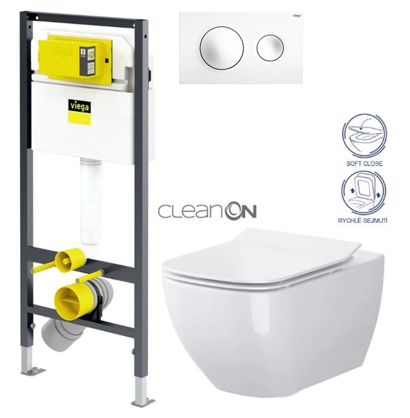 AKCE/SET/VIEGA Presvista modul DRY pro WC včetně tlačítka Style 20 bílá + WC OPOCZNO CLEANON METROPOLITAN + SEDÁTKO V771973 STYLE20BI ME1