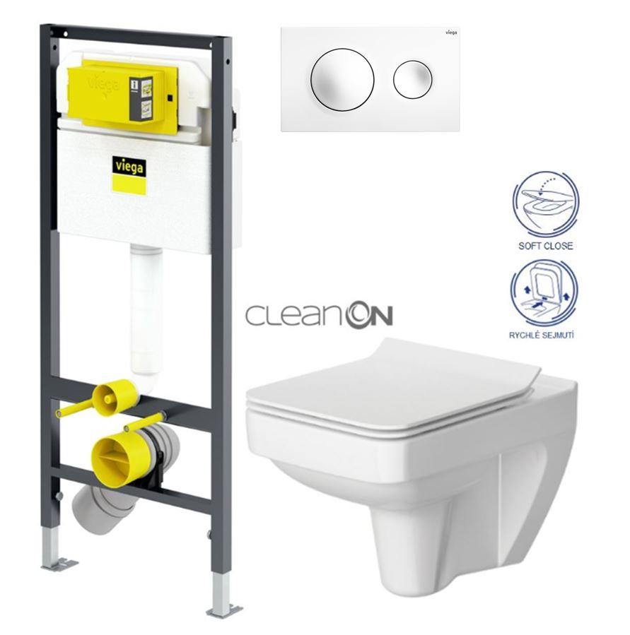 AKCE/SET/VIEGA Presvista modul DRY pro WC včetně tlačítka Style 20 bílá + WC CERSANIT CLEANON SPLENDOUR + SEDÁTKO V771973 STYLE20BI SP1
