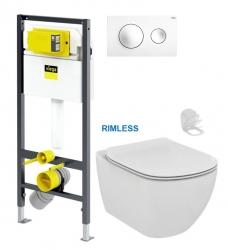 Presvista modul DRY pro WC včetně tlačítka Style 20 bílá +  WC TESI RIMLESS (V771973 STYLE20BI TE2) - AKCE/SET/VIEGA