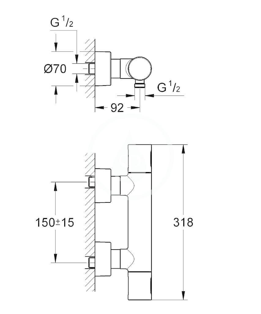 GROHE - Grohtherm 3000 Cosmopolitan Termostatická sprchová baterie, chrom (34274000)