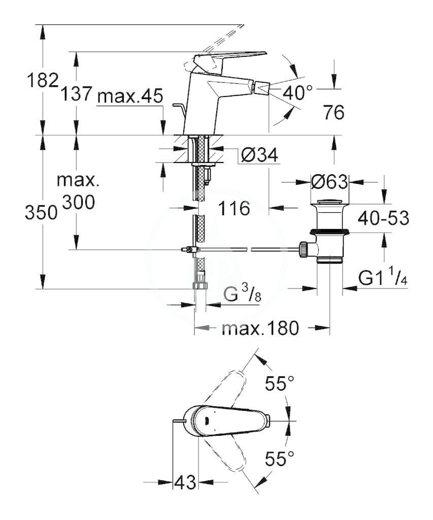 GROHE - Eurodisc Cosmopolitan Páková bidetová baterie, chrom (33244002)
