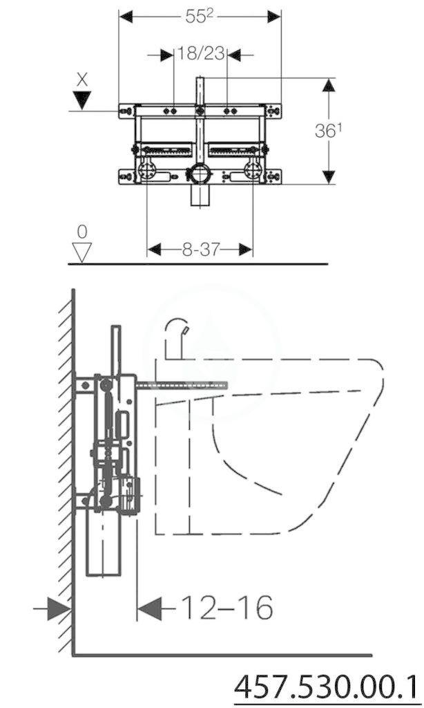 GEBERIT - Kombifix Montážní prvek pro bidet, univerzální (457.530.00.1)