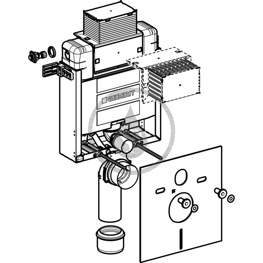 GEBERIT - Kombifix Montážní prvek pro závěsné WC, 82 cm, splachovací nádržka pod omítku Omega 12 cm (110.000.00.1)