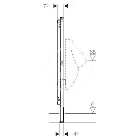 GEBERIT - Duofix Montážní prvek pro pisoár, 112–130 cm, univerzální, pro ovládání splachování na omítku (111.686.00.1)