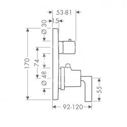 AXOR - Citterio Vanová termostatická podomítková baterie, chrom (39720000), fotografie 4/3