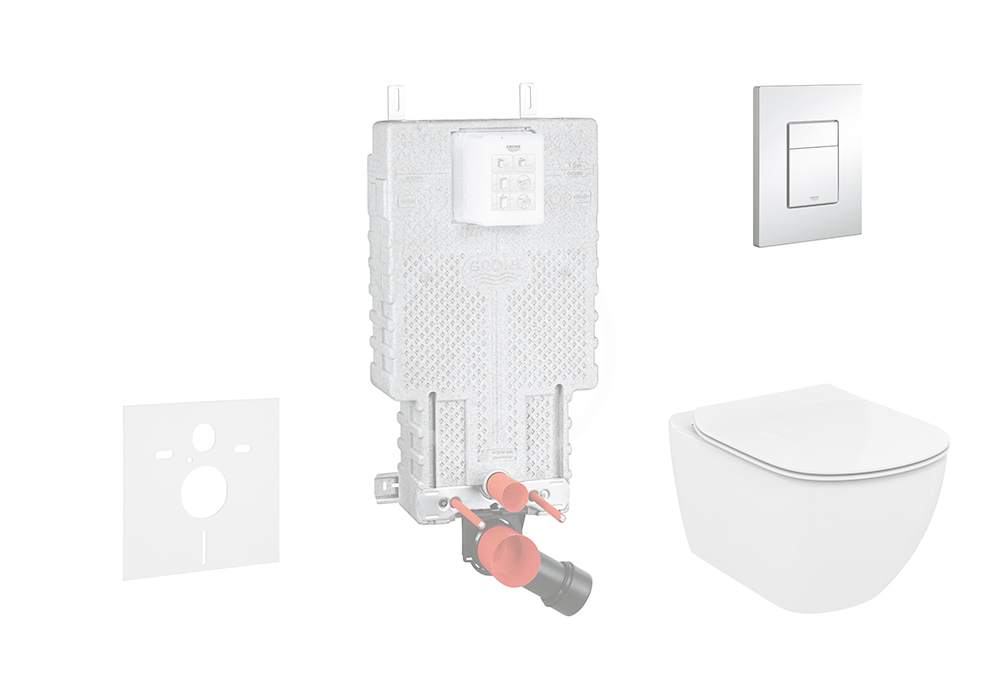 GROHE Uniset Sada pro závěsné WC + klozet a sedátko softclose Ideal Standard Tesi 38643SET-KE