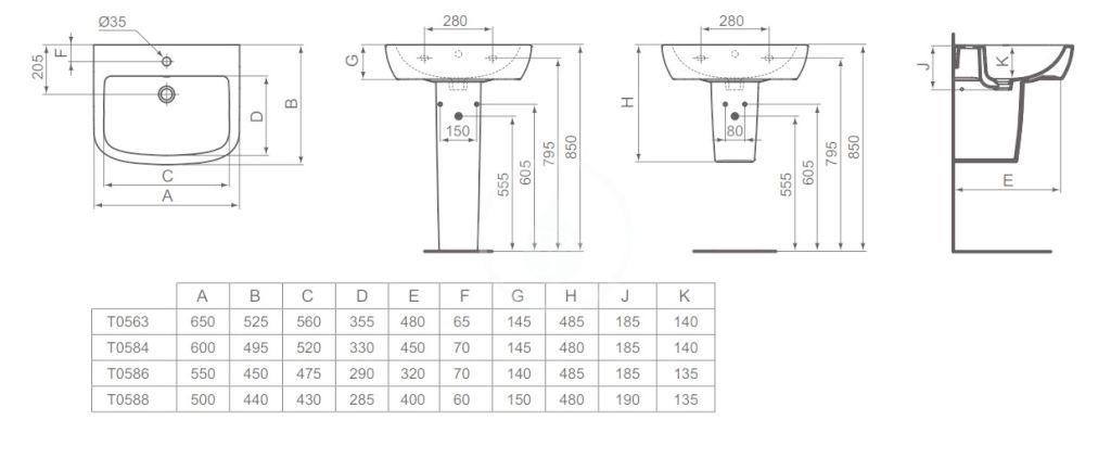IDEAL STANDARD - Tempo Umyvadlo 600x495x185 mm, s 1 otvorem pro baterii, bílá (T058401)