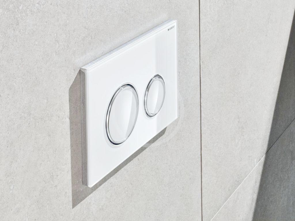 GEBERIT - Sigma21 Ovládací tlačítko splachování, sklo bílé/lesklý chrom (115.884.SI.1)
