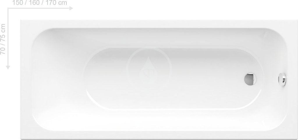 RAVAK Chrome Obdélníková vana 1700x750 mm, bílá C741000000