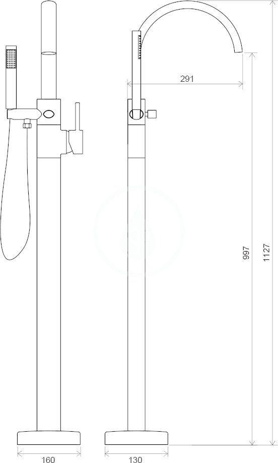 RAVAK - Freedom Vanová baterie do podlahy FM 080.00, s tělesem, chrom (X070059)