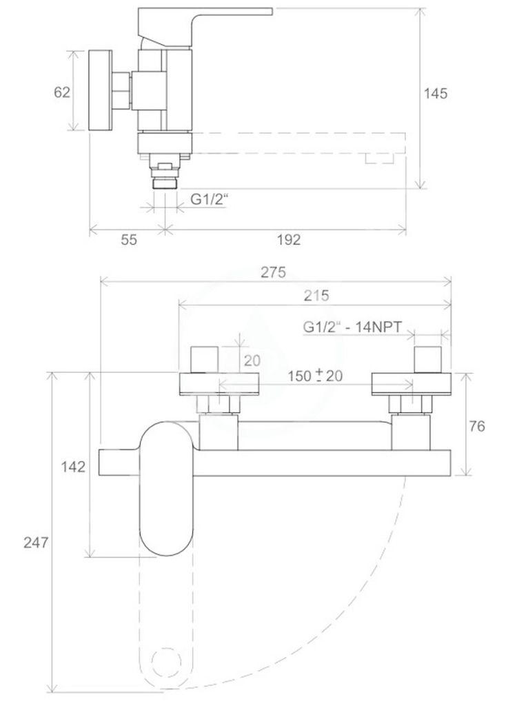 RAVAK - Chrome Vanová nástěnná baterie CR 022.00/150, chrom (X070042)