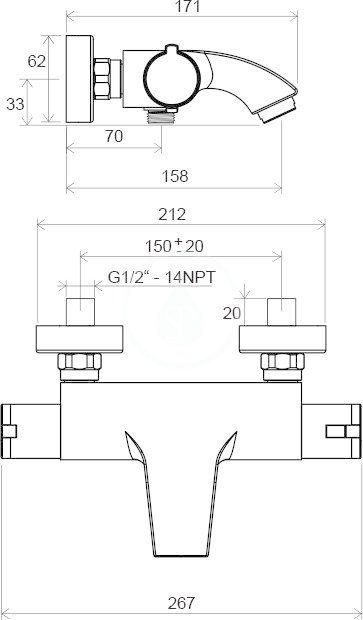 RAVAK - Termo Termostatická vanová baterie 200, TE 082.00/150, chrom (X070046)
