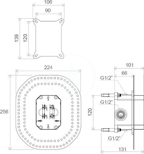 RAVAK - R-box Základní těleso RB 070.50, pro baterie pod omítku (X070052)