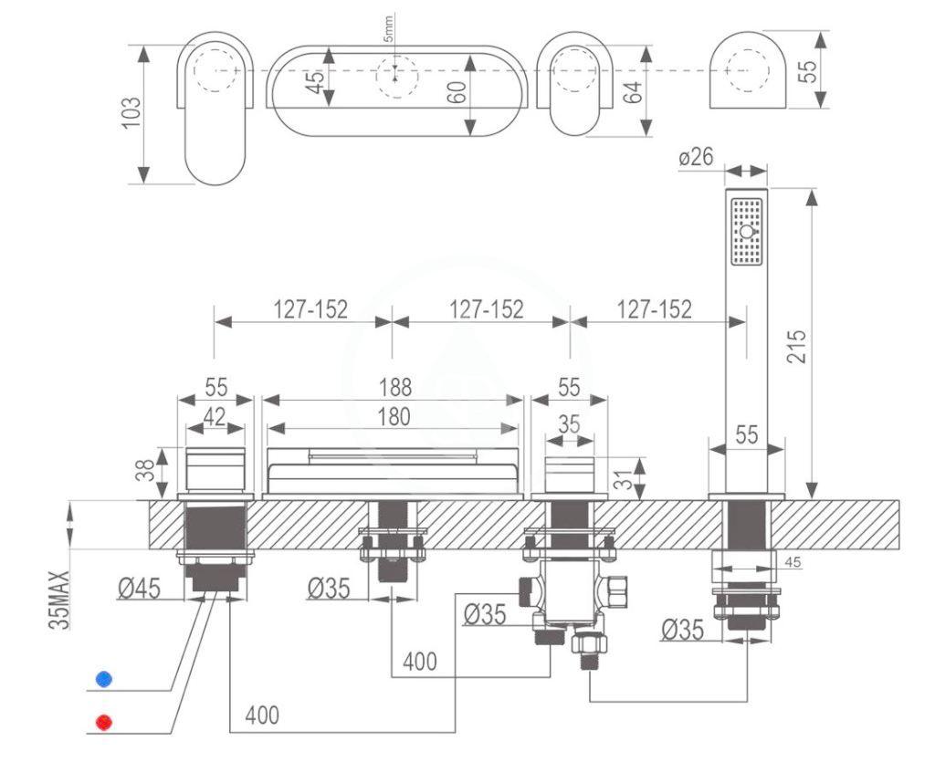 RAVAK - Baterie Baterie na okraj vany CR 025.00, 4-otvorová instalace, chrom (X070073)