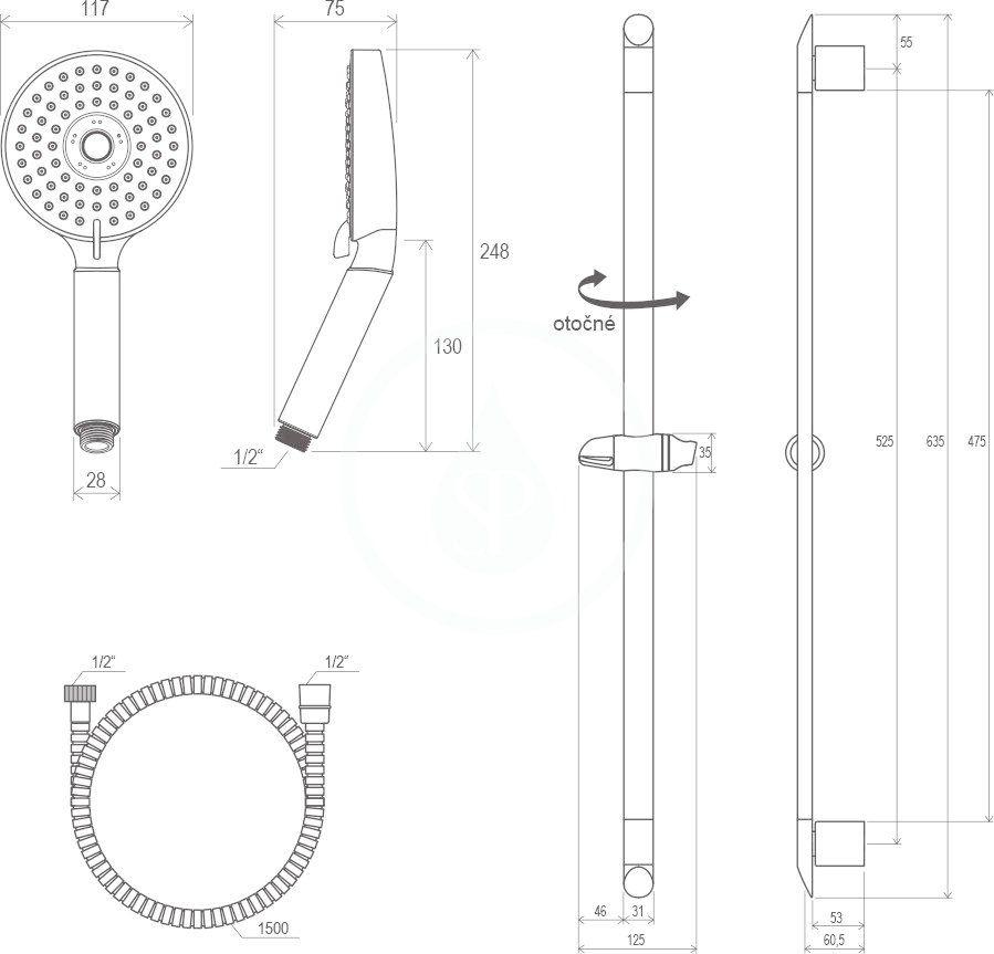 RAVAK - Sprchy Sada sprchové hlavice, tyče 600 mm a hadice 902.00, chrom (X07P177)