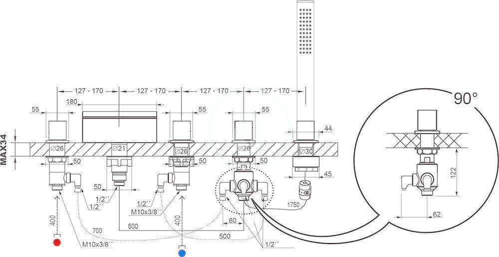 RAVAK - Baterie Baterie na okraj vany WF 025.00, 4-otvorová instalace, chrom (X070060)