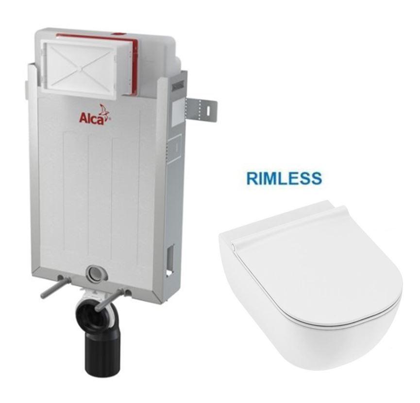 ALCAPLAST Renovmodul předstěnový instalační systém bez tlačítka + WC JIKA MIO + SEDÁTKO SLIM AM115/1
