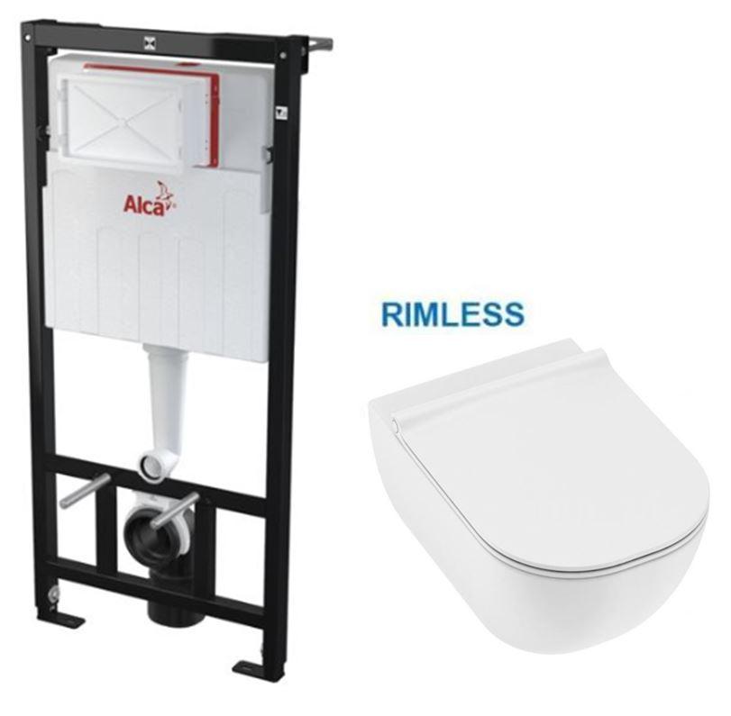 AKCE/SET/ALCAPLAST SET Sádromodul předstěnový instalační systém bez tlačítka + JIKA Mio WC, Rimless