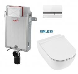 SET Renovmodul - předstěnový instalační systém s bílým/ chrom tlačítkem M1720-1 + JIKA Mio WC, Rimless + Mio WC sedátko SLIM (AM115/1000 M1720-1 IO1) - AKCE/SET/ALCAPLAST