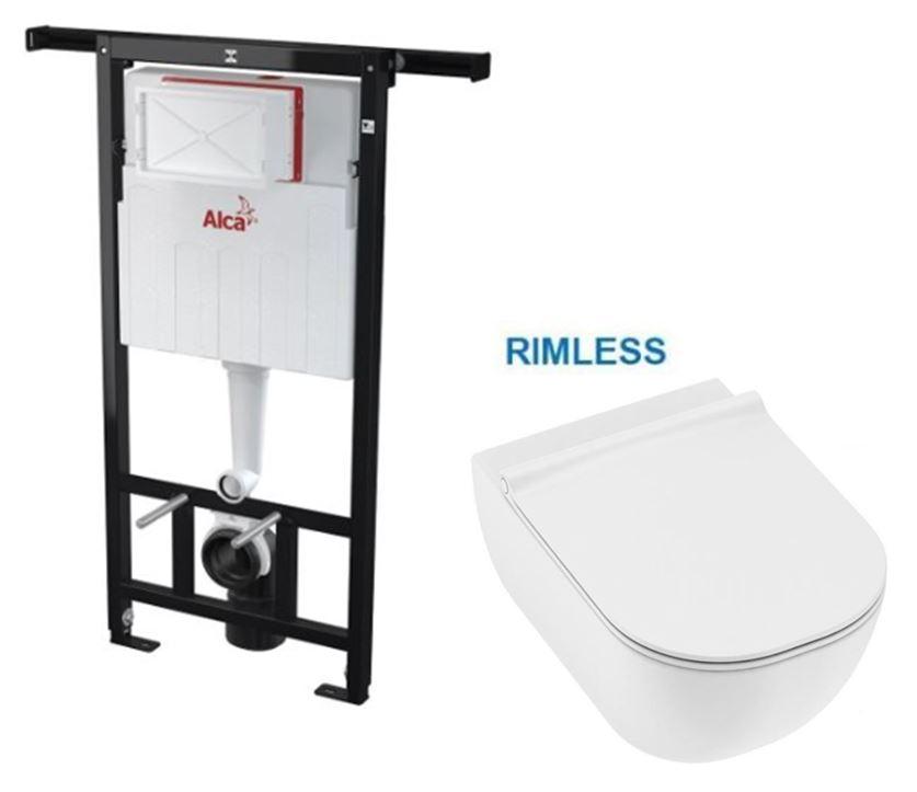 AKCE/SET/ALCAPLAST SET Jádromodul předstěnový instalační systém bez tlačítka + JIKA Mio WC, Rimless