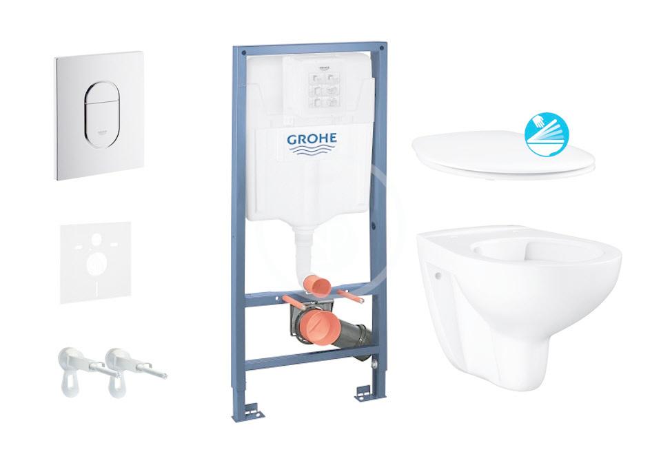 GROHE Solido Sada pro závěsné WC + klozet a sedátko softclose Bau Ceramic, tlačítko Arena Cosmopolit