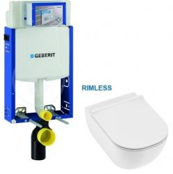 SET Kombifix KOMBIFIX ECO pro závěsné WC, nádržka UP 320 bez ovládací desky + JIKA Mio WC, Rimless + Mio WC sedátko SLIM (110.302.00.5 IO1) - AKCE/SET/GEBERIT